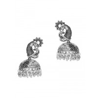 Peacock Tribal Jewellery Silver Jhumka Earrings