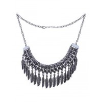 Vintage Silver Leaf Fringe Bib Fashion Necklace