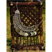 Vintage Silver Coin Fringe Bib Fashion Necklace