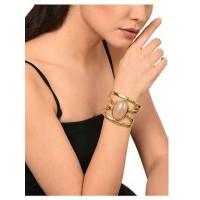 Rose Quartz Brass Jolie Handmade Jewellery Cuff