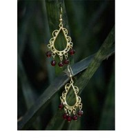 Golden Western Handmade Earrings With Maroon Beads