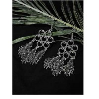 Long Oxidized Silver Patterned Earrings