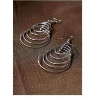 Delicate Multi-level Silver Plated Hoops Designer Western Earrings