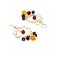 Golden Earrings With Multicolored Hanging Beads