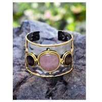 Semi Precious Smoky Rose Quartz Handmade Jewellery Cuff