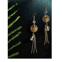 Golden Chain Western Handmade Earrings With Grey Beads