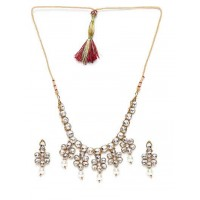 Crystal Glass Handmade Necklace Set With Hanging White Pearls