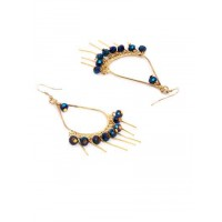 Golden Drop Earrings With Blue Beads