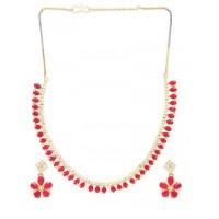 Red Stone Embellished Zircon Choker Necklace Set