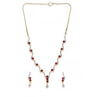 Zircon Embellished Handmade Necklace Set With Red Stones