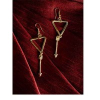 Triangular Western Handmade Earrings With Hanging Arrow