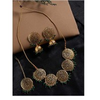 Floral Motifs Handmade Necklace Set With Green Hanging Pearls