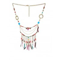 Alloy Metal Tribal Multi Layer Fringes and Beads Fashion Necklace for Women