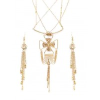 Delicate Chains and Beads Golden Fashion Necklace Set With Earrings