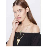 Classic Golden Fashion Necklace With Golden Chains and Green Bead