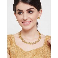 Elegant Gold-Plated Kundan Choker Necklace Set