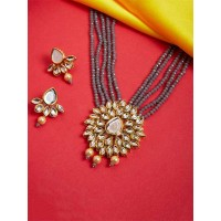 Blue Gold Plated Kundan Studded and Beaded Handcrafted Jewellery Set