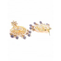 Grey Kundan and Meena Studded Brass Jhumka Earrings