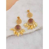 Gold-Toned Red Dream-Catcher Brass Earrings