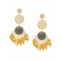 Gold-Toned Blue Dream-Catcher Brass Earrings