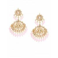 Golden and Pink Kundan Studded Brass Earrings
