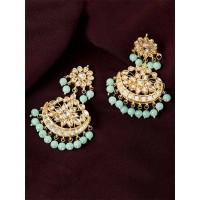 Golden and Light Green Kundan Studded Brass Earrings