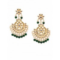 Golden and Dark Green Kundan Studded Brass Earrings