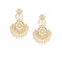 Golden and White Green Kundan Studded Brass Earrings