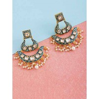 Blue Kundan and Meena Studded Brass Earrings