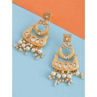 Peach Kundan and Meena Studded Brass Dangle Earrings
