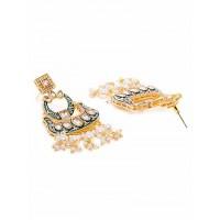 Light Blue Kundan and Meena Studded Brass Dangle Earrings