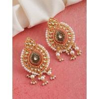 Blue Kundan and Meena Studded Brass Earrings