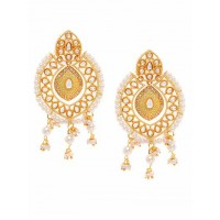 Mint Green Kundan and Meena Studded Brass Earrings