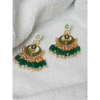 Green Kundan and Meena Studded Brass Earrings