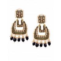 Black Kundan and Meena Studded Brass Earrings