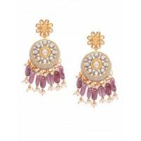 Grey Kundan and Meena Studded Brass Earrings
