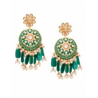 Dark Green Kundan and Meena Studded Brass Earrings