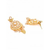 Mint Green Kundan and Meena Studded Brass Earrings