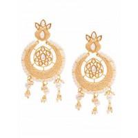 Peach Kundan and Meena Studded Brass Earrings