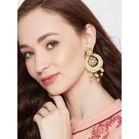 Gold-Toned Mint Green Kundan Studded Brass Dangle Earrings