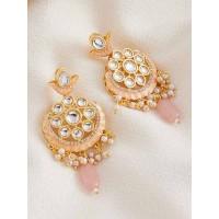 Gold-Toned Pink Kundan Studded Brass Dangle Earrings