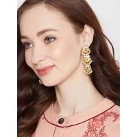 Gold-Toned Green Brass Meenakari Dangle Earrings