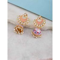 Peach Kundan and Meena Studded Brass Jhumka Earrings