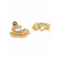 Green Kundan and Meena Studded Brass Earrings
