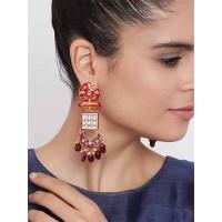 Gold-Toned Red Meenakari Brass Dangle Earrings