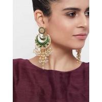 Green Kundan Studded Brass Dangle Earrings