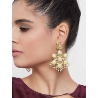 Gold-Toned Kundan and Pearl Studded Brass Dangle Earrings