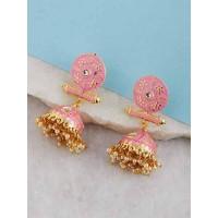 Gold-Toned Pink Meenakari Brass Jhumkas