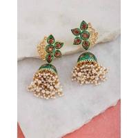 Gold-Toned Green Kundan Studded Meenakari Brass Jhumkas