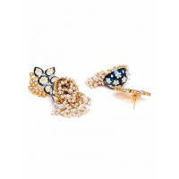 Gold-Toned Blue Kundan Studded Meenakari Brass Jhumkas